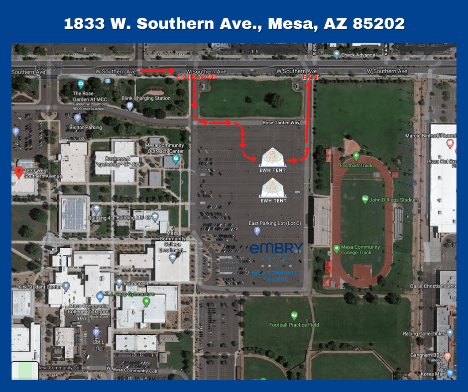 Map of the Mesa Community College Test Site