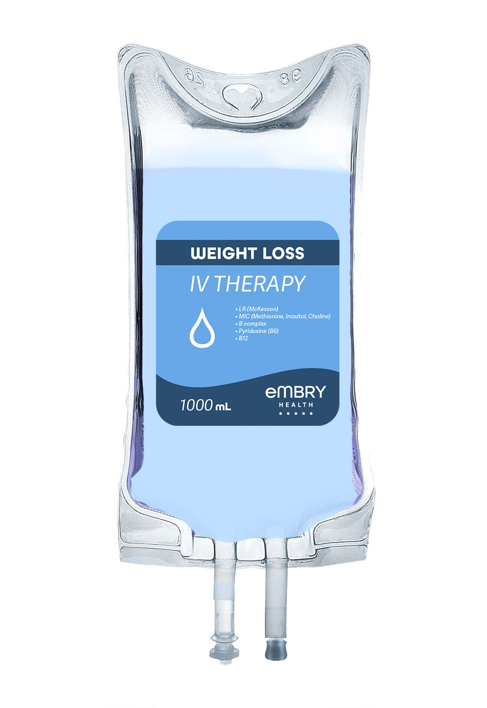 Includes a blend of IV fluids and electrolytes formulated for quick hydration and weight loss leaving you feeling revitalized and refreshed.
